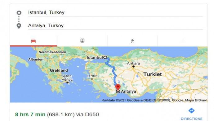 كم تبعد انطاليا عن إسطنبول؟